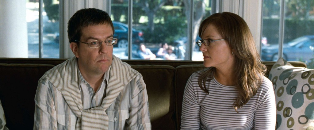 Ed Helms and Rachel Harris as a conflicted couple in The Hangover