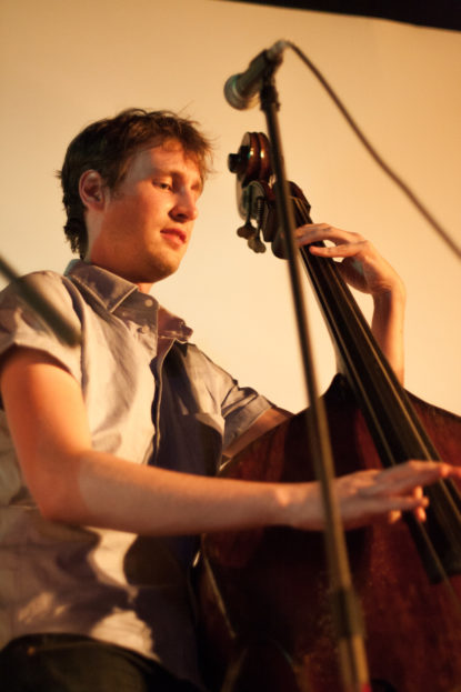 A bassist performs with Charlie Wadhams at the Silent Movie Theatre in Los Angeles