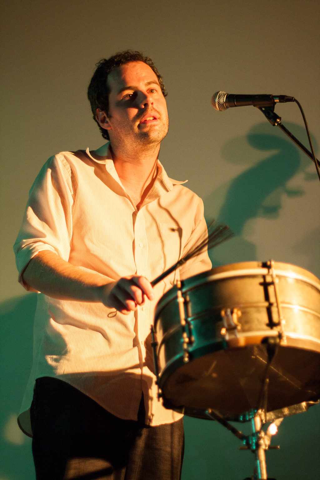 A drummer performs with Charlie Wadhams at the Silent Movie Theatre in Los Angeles
