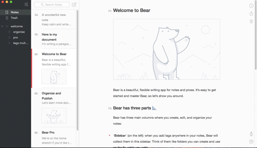 Bear writing app