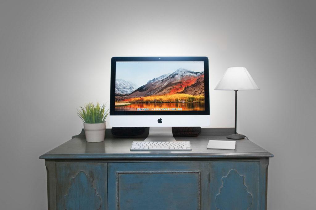 Apple computer on a desktop