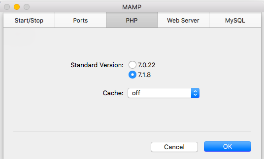 See which version of PHP you're using with the MAMP settings screen