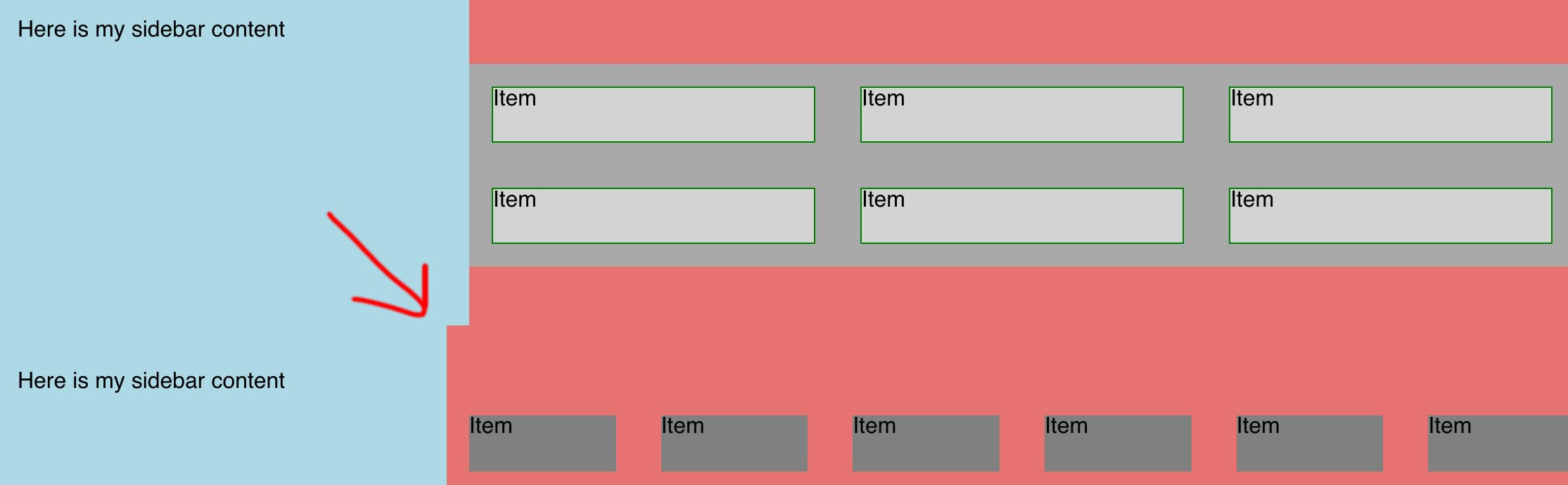 A Flexbox layout with a negative margin that expands the parent